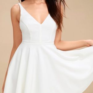 darling delight white skater dress
